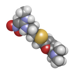 Ranitidine peptic ulcer disease drug, chemical structure.