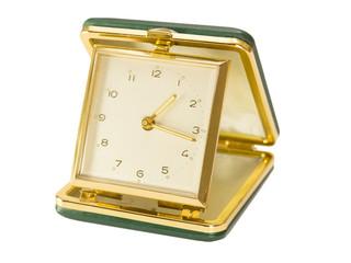 Vintage, Green, Key Wound, Folding Travel Alarm Clock