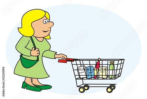 woman and shopping cart