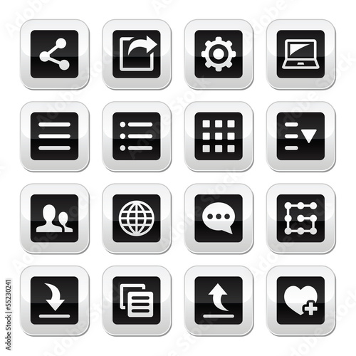 Menu settings tools buttons set