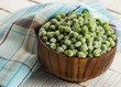 Frozen peas in bowl