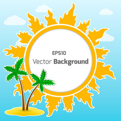 sun and island vector round background