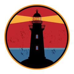 Label with lighthouse, vector illustration