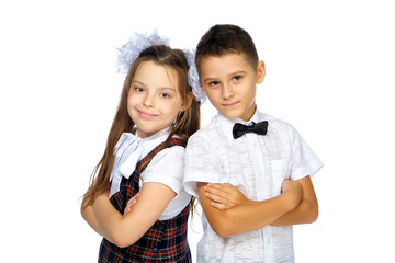 schoolchildren elementary school boy and girl