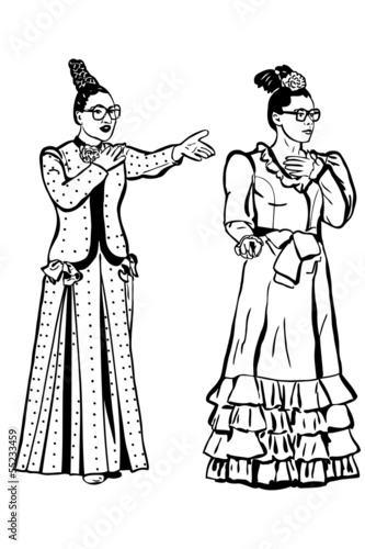 a sketch retro young woman spectacled and long dress