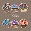 Vector set of delicious cupcakes