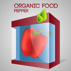 Vector illustration of pepper in packaged