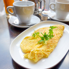 omelet with orange juice