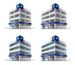 Four cartoon car parking vector buildings