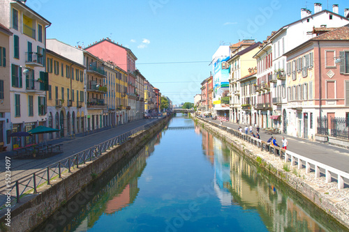 In de dag Kanaal Great Naviglio, Milan