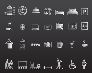 Hotel amenities icon set