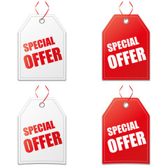 4 x Label Special offer red