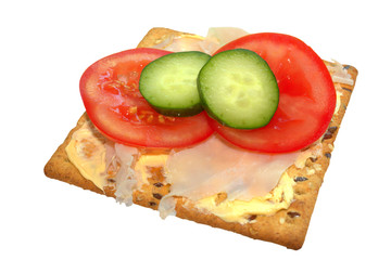 Soy and linseed biscuit with tomato and cucumber
