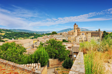 View of the medieval town of Urbino