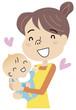 赤ちゃんを抱く主婦