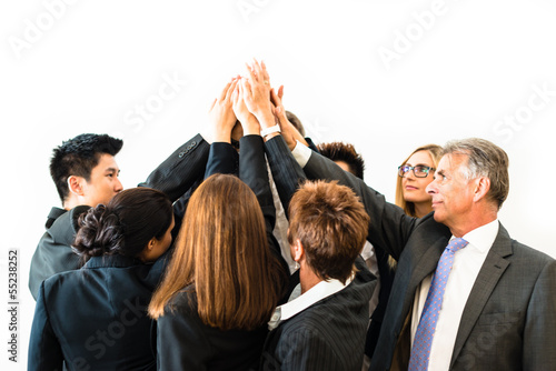 Teamwork - business people with joint hands