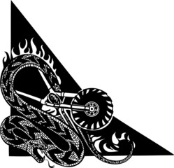 Snake and Motorcycle. Vinyl-ready vector design.