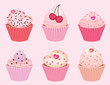 collection of vector valentine's cupcakes