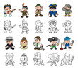 Cute cartoon people set
