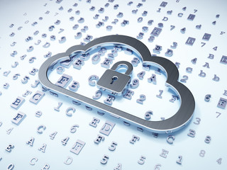 Cloud networking concept: Silver Cloud With Padlock on digital b