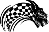 Checkered flag and wolf. Vinyl-ready vector design.