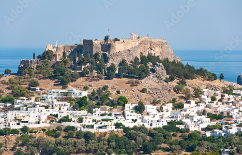 Overview of Lindos on Rhodes island, Greece.