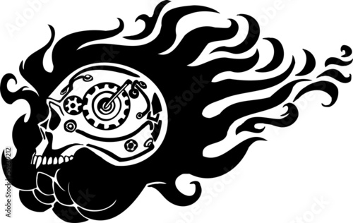Skull and gear. Vinyl-ready vector design.