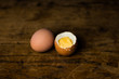 Eggs on wooden table