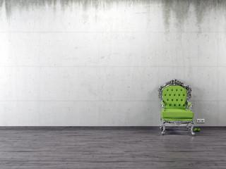 Grüner Prunk Stuhl und Äpfel vor Sichtbetonwand