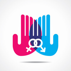 male female symbol in hand vector