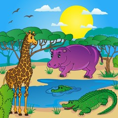 African landscape with animals 01