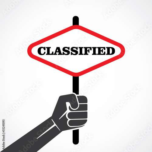 classified word banner hold in hand stock vector