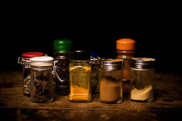 Selection of spices in rustic setting