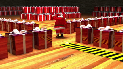Santa in his warehouse directing the lines of presents. Loop.
