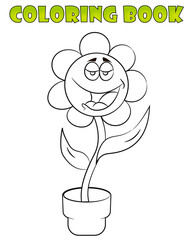 Coloring book with a flower. Cartoon Illustration