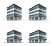 Set of four hotel or office vector building icons