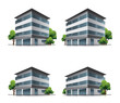 Set of four hotel or office vector building icons with trees