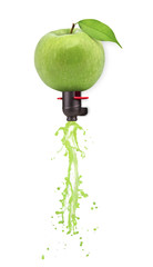 Green apple transforming into cider on white background