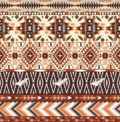 Seamless colorful aztec geometric tribal pattern