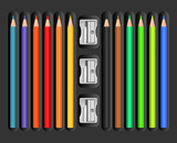 Colored pencils set with sharpeners
