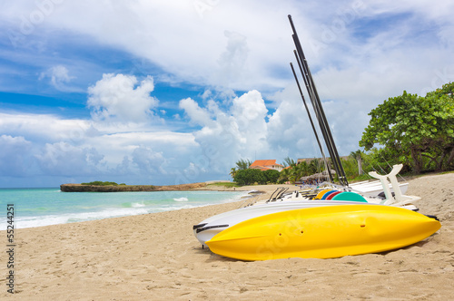Kayaks and catamarans at Varadero beach in Cuba