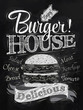 Poster lettering Burger House painted with a hamburger and inscr - 55245241