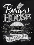 Poster lettering Burger House painted with a hamburger and inscr