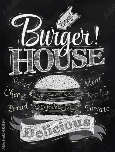 Fotobehang Restaurant Poster lettering Burger House painted with a hamburger and inscr