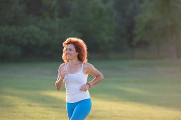 girl jogging in nature