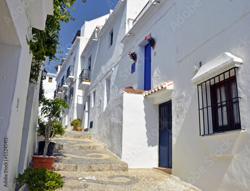 Townhouses along a typical whitewashed village street