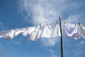 Laundry drying on the rope outside