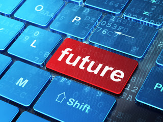 Time concept: Future on computer keyboard background
