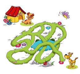 gioco labirinto, cani