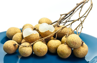 Fresh Longan Fruit On Blue Dish